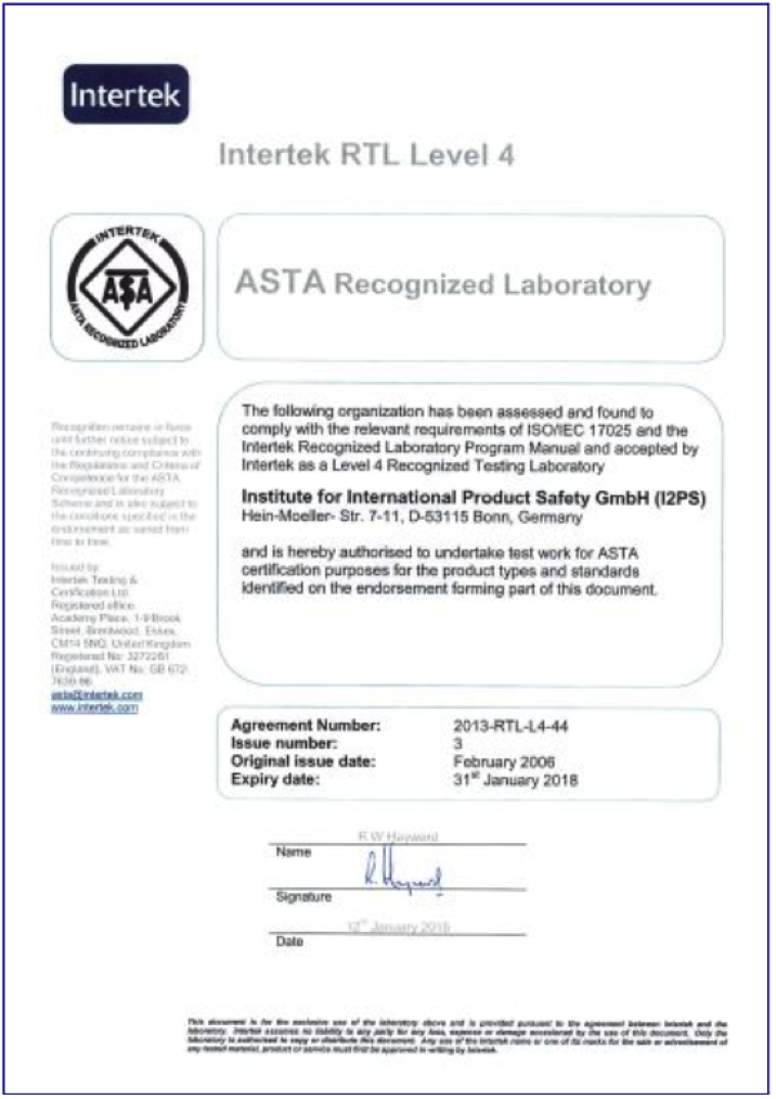 Certificate and scope of recognition